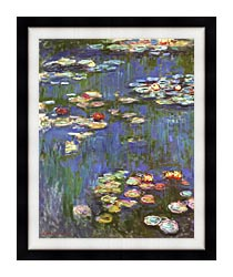 Claude Monet Water Lilies 1916 Portrait Detail canvas with modern black frame