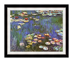 Claude Monet Water Lilies 1916 Detail canvas with modern black frame