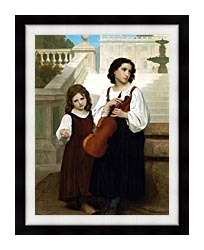 William Bouguereau Far From Home canvas with modern black frame