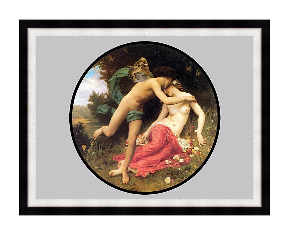 William Bouguereau Flora and Zephyr with Modern Black Frame