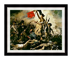 Eugene Delacroix Liberty Leading The People canvas with modern black frame