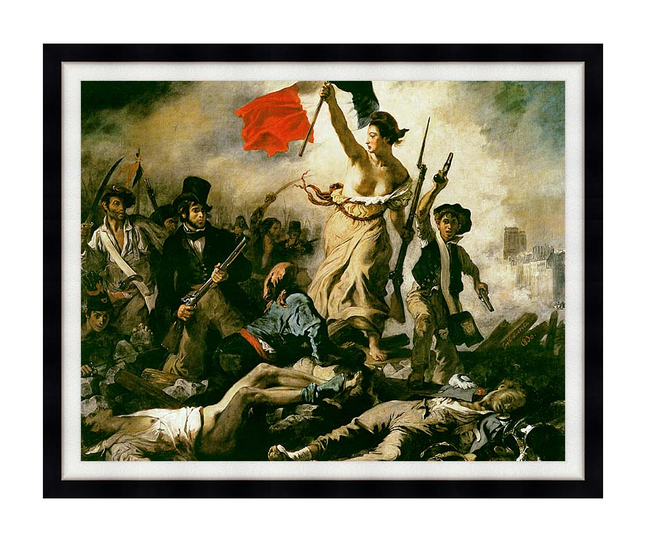 Eugene Delacroix Liberty Leading the People with Modern Black Frame