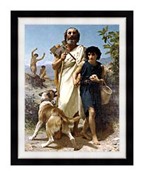 William Bouguereau Homer And His Guide canvas with modern black frame