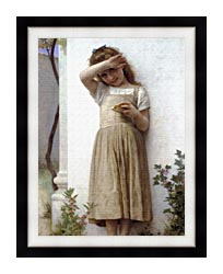 William Bouguereau In Penitence canvas with modern black frame