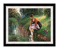 Camille Pissarro Woman Bathing Her Feet canvas with modern black frame