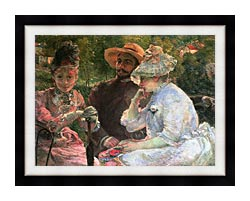 Marie Bracquemond On The Terrace At Sevres canvas with modern black frame