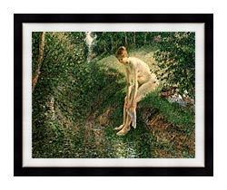 Camille Pissarro Bather In The Woods canvas with modern black frame