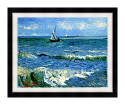Vincent Van Gogh The Sea At Les Saintes Maries De La Mer canvas with modern black frame