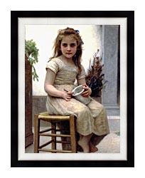 William Bouguereau Just A Taste canvas with modern black frame