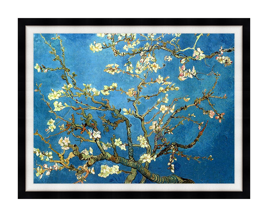 Vincent van Gogh Almond Blossom (detail) with Modern Black Frame