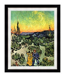Vincent Van Gogh Landscape With Couple Walking And Crescent Moon canvas with modern black frame
