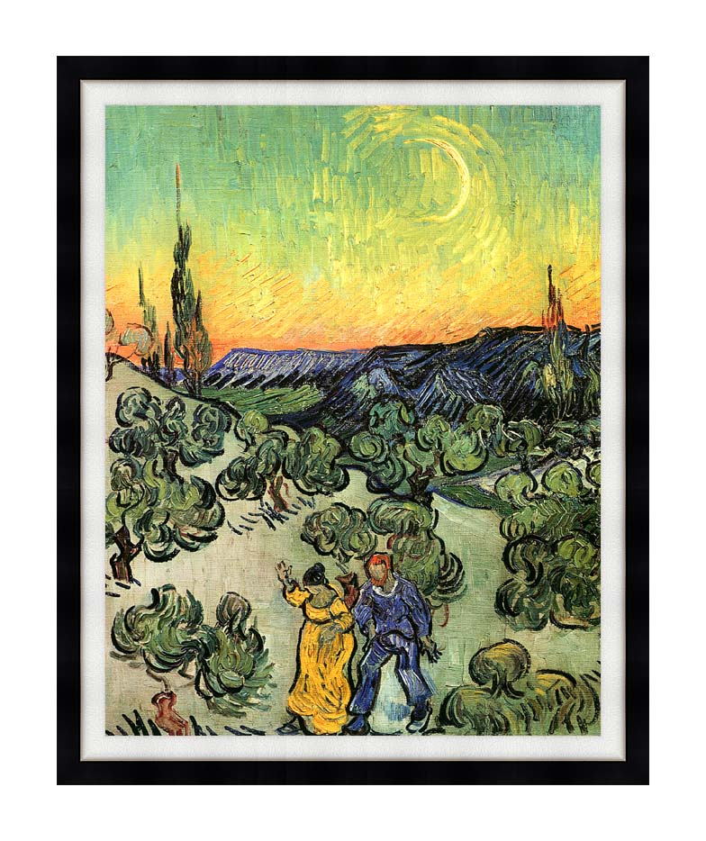 Vincent van Gogh Landscape with Couple Walking and Crescent Moon with Modern Black Frame