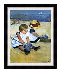 Mary Cassatt Children Playing On The Beach Detail canvas with modern black frame