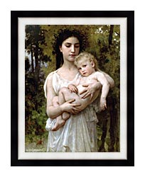 William Bouguereau Little Brother canvas with modern black frame