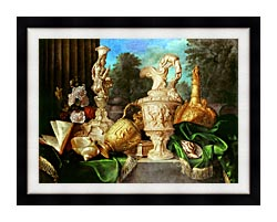 Meiffren Conte Still Life With Precious Vessels canvas with modern black frame
