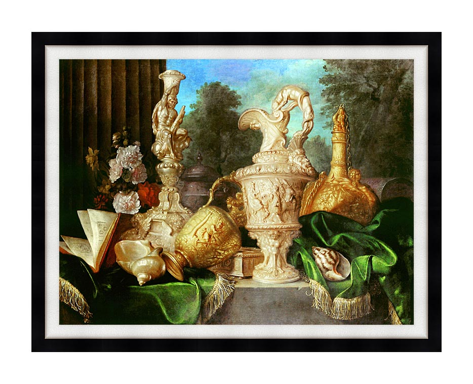 Meiffren Conte Still Life with Precious Vessels with Modern Black Frame