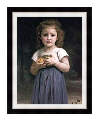 William Bouguereau Little Girl Holding Apples canvas with modern black frame