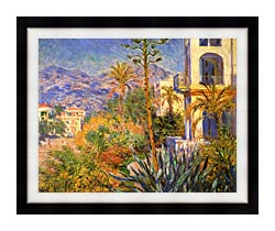 Claude Monet Villas At Bordighera canvas with modern black frame