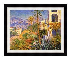 Claude Monet Villas At Bordighera canvas with modern black frame