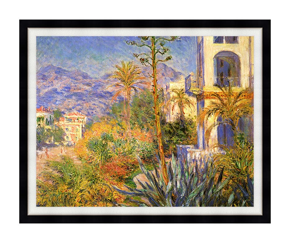 Claude Monet Villas at Bordighera with Modern Black Frame