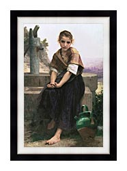 William Bouguereau The Broken Pitcher canvas with modern black frame