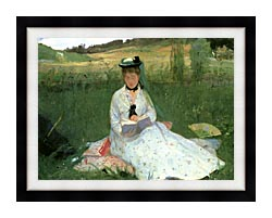 Berthe Morisot Reading Detail canvas with modern black frame