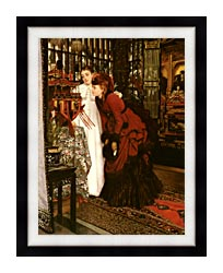 James Tissot Young Ladies Looking At Japanese Objects canvas with modern black frame