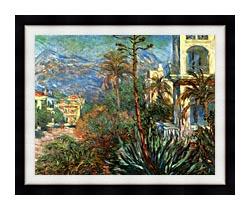 Claude Monet The Villas At Bordighera canvas with modern black frame
