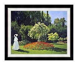 Claude Monet Jeanne Marguerite Lecadre In The Garden canvas with modern black frame