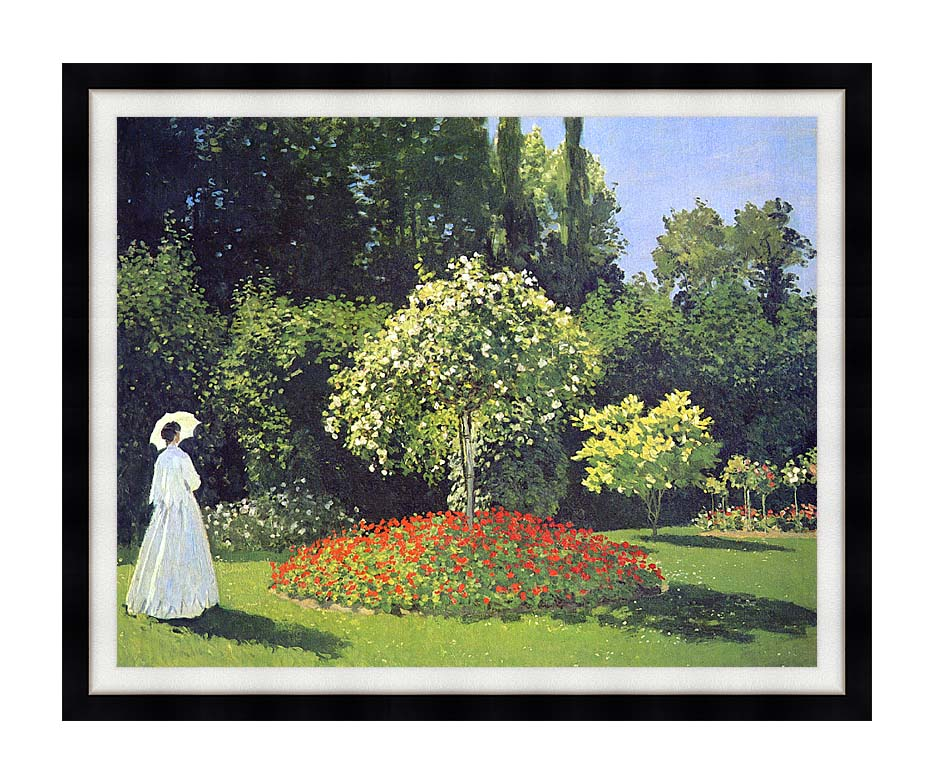 Claude Monet Jeanne-Marguerite Lecadre in the Garden with Modern Black Frame