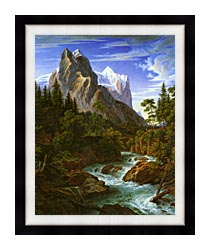 Joseph Anton Koch The Wetterhorn With The Reichenbachtal canvas with modern black frame