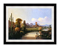 John Mix Stanley Chain Of Spires Along The Gila River canvas with modern black frame