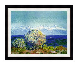 Claude Monet At Cap Dantibes Mistral Wind canvas with modern black frame