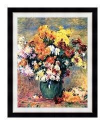 Pierre Auguste Renoir Chrysanthemums In A Vase canvas with modern black frame
