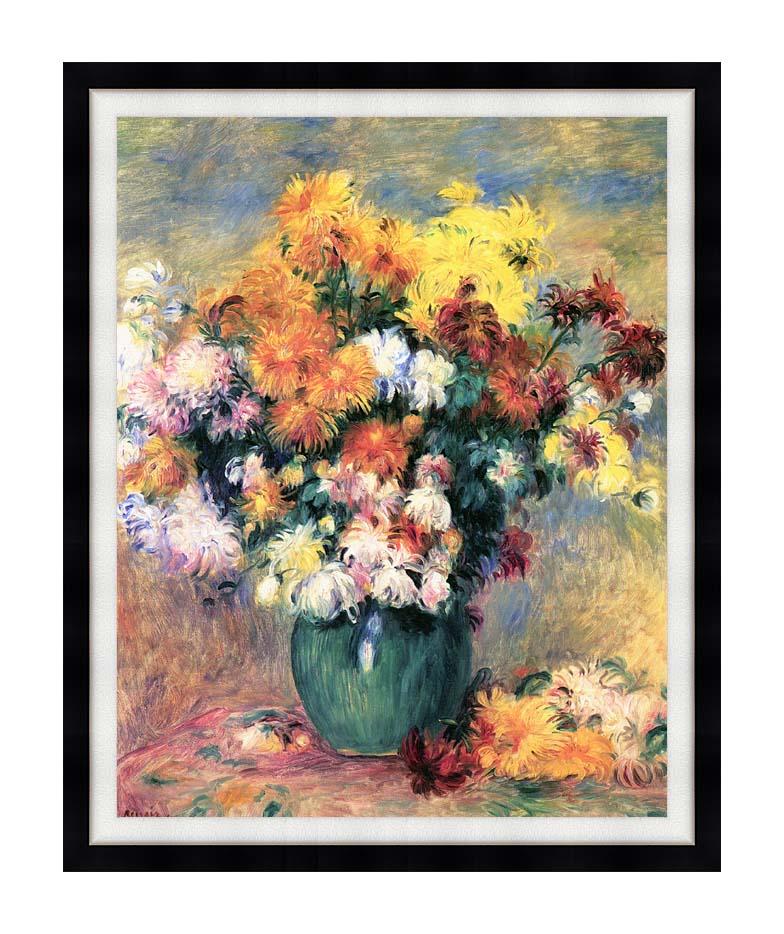 Pierre Auguste Renoir Chrysanthemums in a Vase with Modern Black Frame