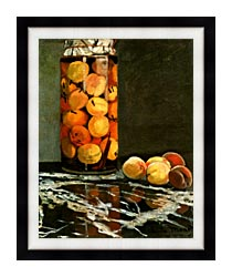 Claude Monet Jar Of Peaches canvas with modern black frame