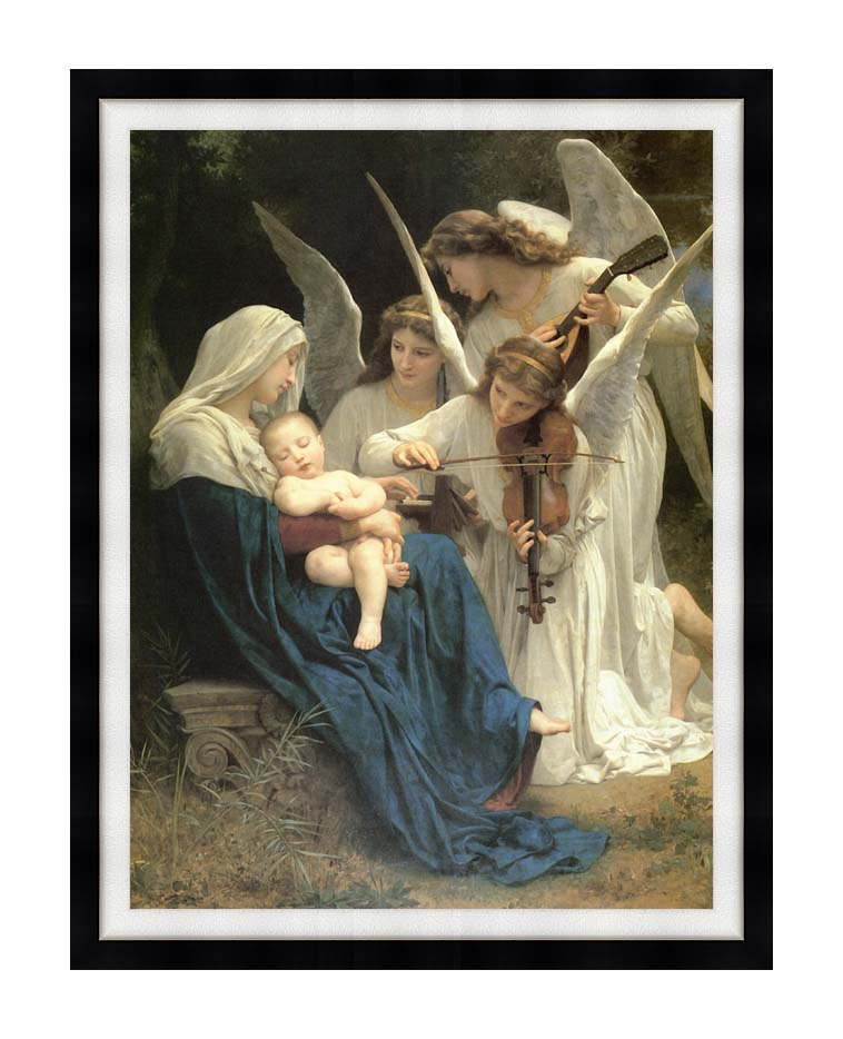 William Bouguereau Song of the Angels with Modern Black Frame
