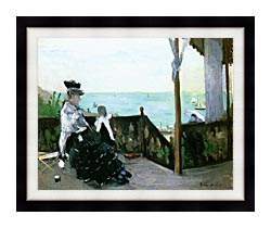 Berthe Morisot In A Villa At The Seaside canvas with modern black frame