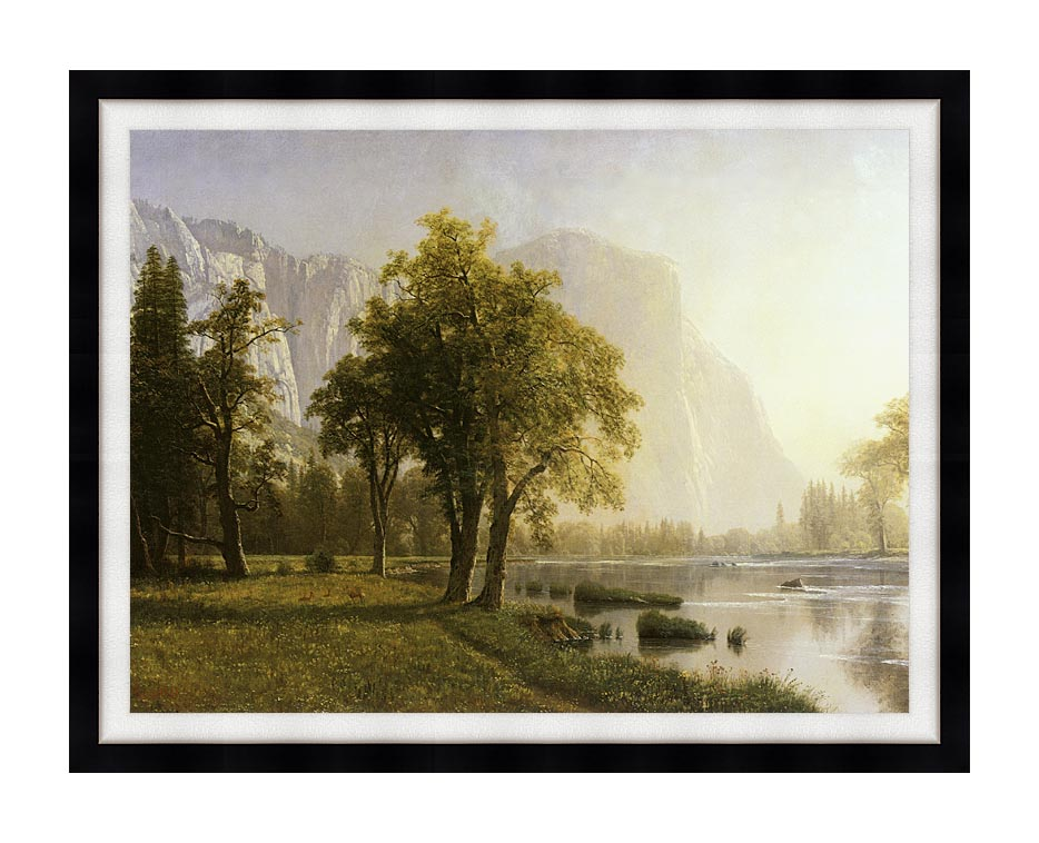 Albert Bierstadt El Capitan, Yosemite Valley, California with Modern Black Frame