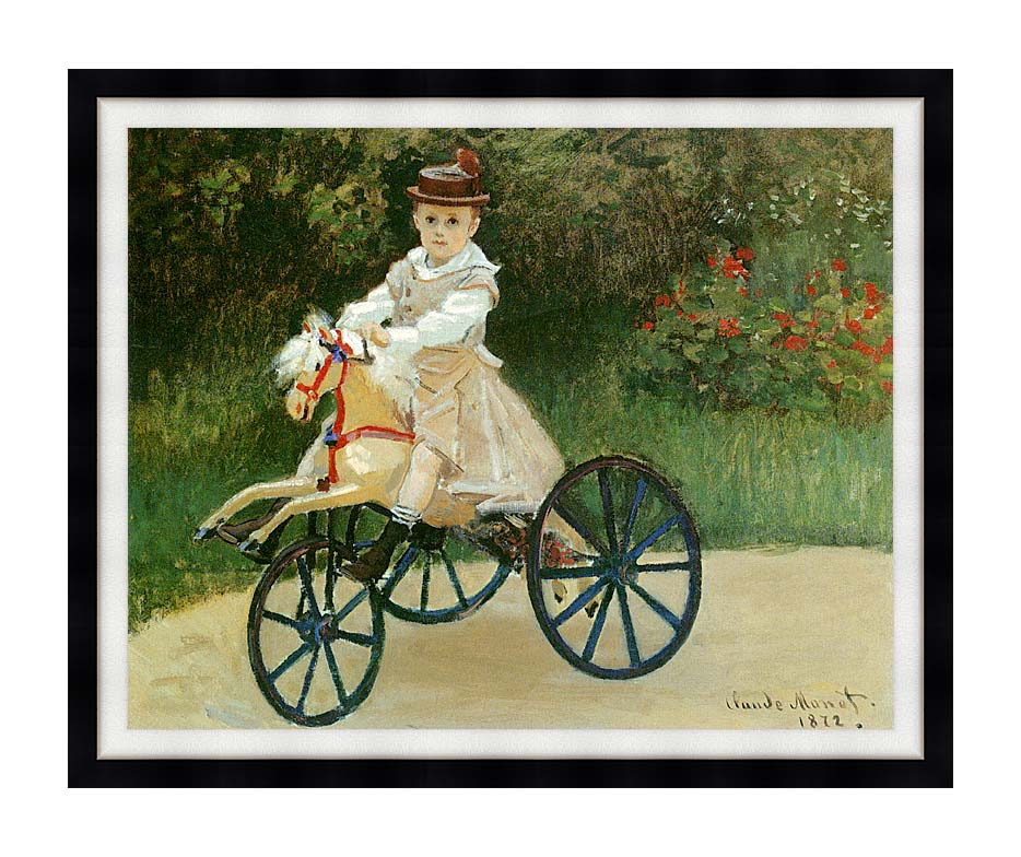 Claude Monet Jean Monet on his Horse Tricycle with Modern Black Frame
