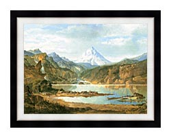 John Mix Stanley Mountain Landscape With Indians canvas with modern black frame