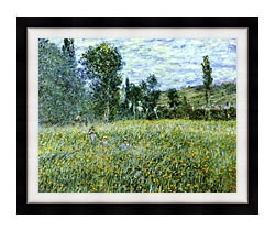 Claude Monet A Meadow Outside Vetheuil canvas with modern black frame