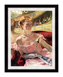 Mary Cassatt Lydia In A Loge Wearing A Pearl Necklace canvas with modern black frame