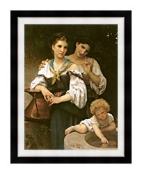 William Bouguereau The Secret canvas with modern black frame