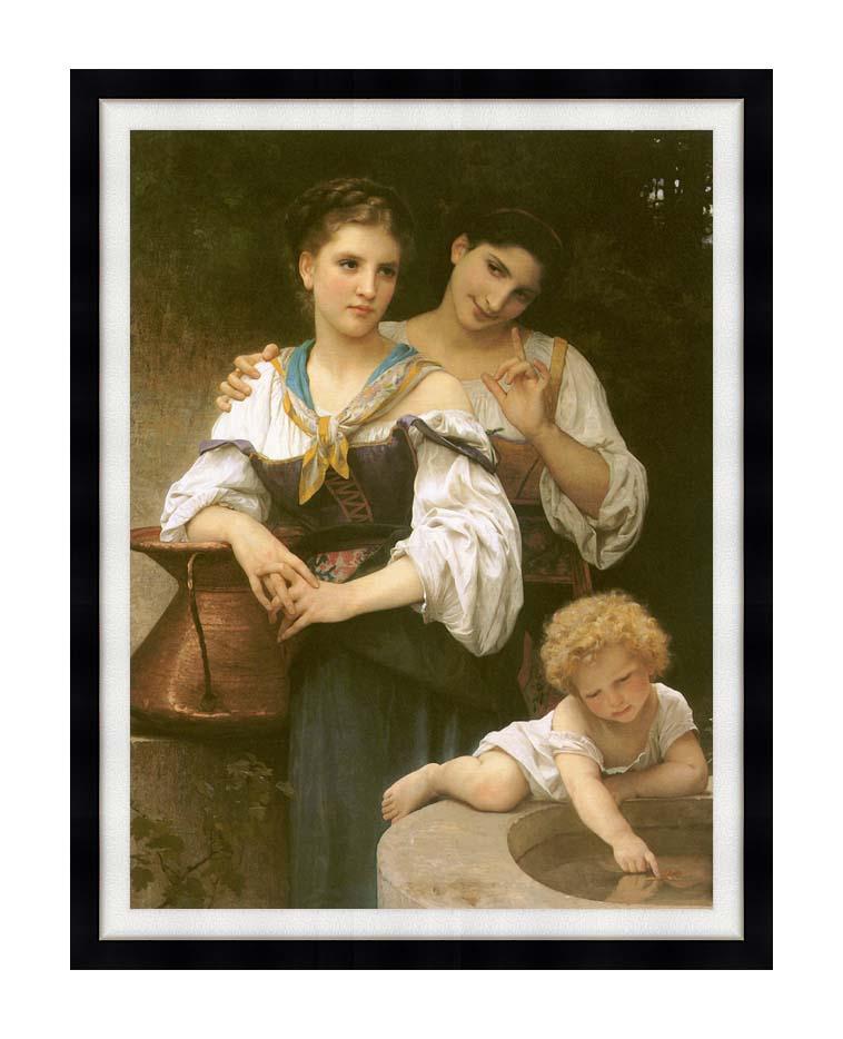 William Bouguereau The Secret with Modern Black Frame
