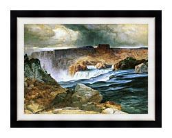 Thomas Moran Shoshone Falls Snake River Idaho canvas with modern black frame