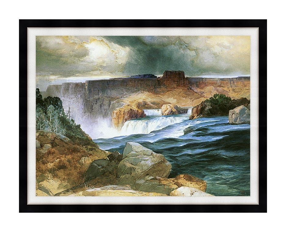 Thomas Moran Shoshone Falls, Snake River, Idaho with Modern Black Frame