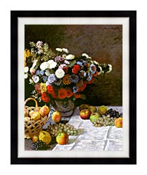 Claude Monet Still Life Flowers And Fruit canvas with modern black frame