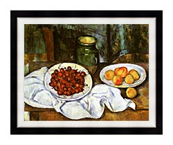 Paul Cezanne Still Life With Cherries And Peaches canvas with modern black frame