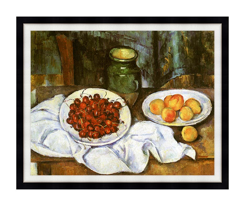 Paul Cezanne Still Life with Cherries and Peaches with Modern Black Frame